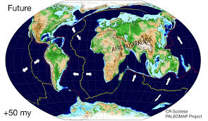 Tectonic Plate Map Map Of Plate Tectonics 50 Million Years In The Future