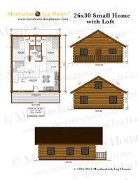 Log Cabin With Loft Floor Plans 26x30 Log Home W Loft Meadowlark Log Homes