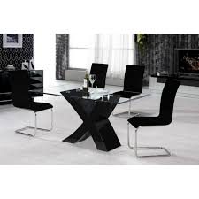 ARIOZNA BLACK OR WHITE HIGH GLOSS DINING TABLE WITH  CHAIRS - Black dining table for 4