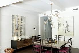 mid century credenza dining room contemporary with artwork