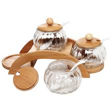 amazon com set of 3 clear glass condiment spice jars ceramic