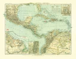 Centro America Map by Old Map Of The North And Central America In 1905 Buy Vintage Map