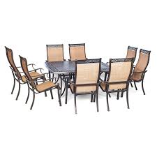 hanover outdoor manor 9 piece outdoor dining set with large square