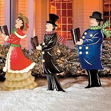 Christmas Yard Decoration Images Set Of 3 Metal Christmas Carolers Outdoor Yard Display Holiday