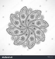 Indian Flower Design Oriental Geometric Outline Flower Isolated Mandala Stock Vector