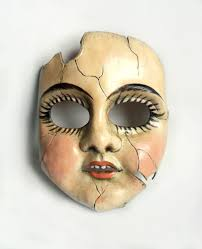 broken doll halloween costume cracked porcelain doll leather mask possibly the first thing i