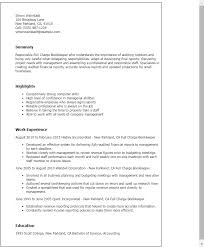 Sample Bookkeeping Resume by Full Charge Bookkeeper Cover Letter