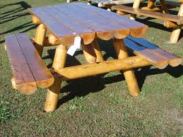 Building Plans For Picnic Table Bench by Log Picnic Table Plans For The Home Pinterest Picnic Tables