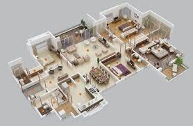 Simple 4 Bedroom Floor Plans Simple House Floor Plans 3d