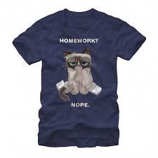 Official Merchandise   Grumpy Cat   Men     s   Homework Nopework