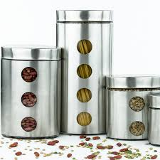 4 pc kitchen glass canister food container set glass cookie jars
