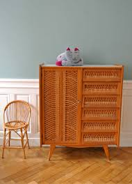 armoire vintage enfant armoire vestiaire en chêne et rotin années 60 solveig vintage kids