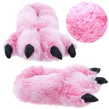 pink fuzzy bear paw animal slippers for women and men http www