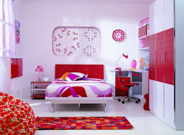 adorable nice design light pink and red bedroom that has white and