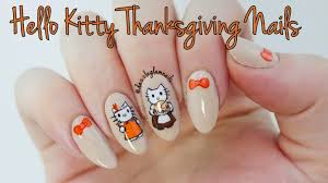 nails art video tutorial hello kitty thanksgiving nail tutorial