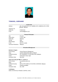 Job Resume Malaysia by Resume Sample For Hrm Graduate Templates