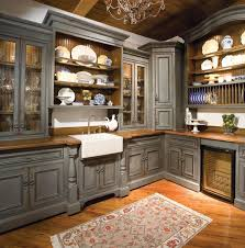 cute ethnic carpet and gray kitchen cabinets for rustic kitchen