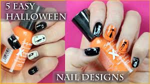 5 easy halloween nail art designs for beginners youtube