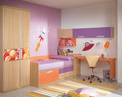 purple and white themed modern kids room design with corner space