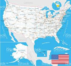 Unite States Map by United States Map Flag Navigation Labels Roads Illustration Stock