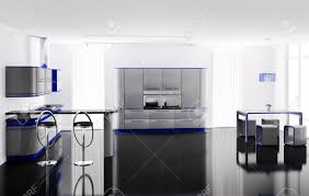 interior of modern gray blue kitchen with bar table and stools
