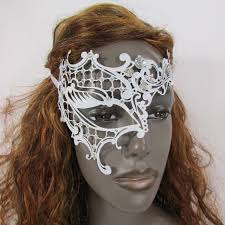 halloween accessories white half face right side mask rhinestones back tie women mardi