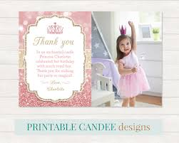 princess thank you princess party thank you pink gold thank