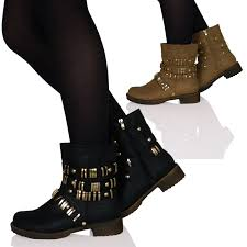 high heel motorcycle boots womens ladies low heels flats biker boots shoes ankle studded gold