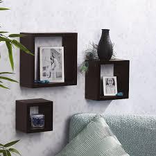 amazon com melannco square wood shelves set of 3 espresso home