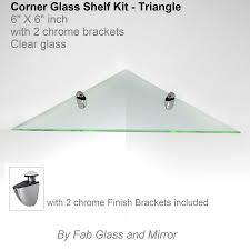 Glass Shelving Brackets by Corner Glass Shelf Kit 6x6 Inch With Chrome Brackets Triangle