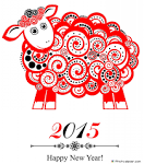2015 New Year Card With Red Sheep Wallpaper #13011 Wallpaper.