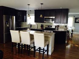 dark cabinets white island glass tile backsplash delicatus