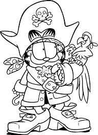 garfield become a pirate and a bird garfield coloring pages