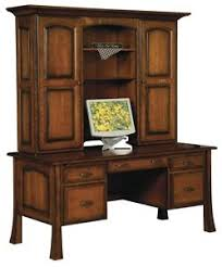 Solid Oak Office Furniture by Amish Traditional Writing Computer Desk Hutch Solid Wood Office