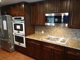 espresso kitchen cabinets with granite kitchen decoration