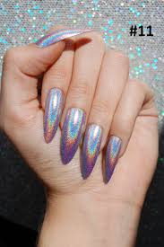 holo xl extra long stiletto almond nails color options set