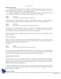 thesis statement communication skills lecture handout docsity