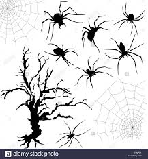 black and white halloween backgrounds halloween silhouette set of spiders spider nettings and old dried