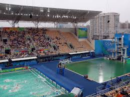 rio 2016 olympic water polo pool becomes second to turn green