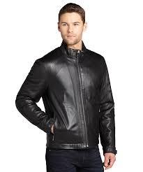 men s moto jacket zegna zegna sport black lambskin leather zip front moto jacket