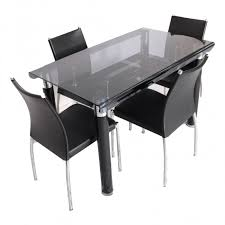 Bent  Seater Glass Top Dining Table Set Woodys Furniture - Black dining table for 4
