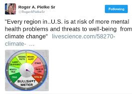 Climatologist Dr  Roger Pielke Sr  responded with a      bullshit meter      rating the claim as      total BS