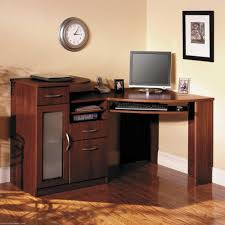 decorating small corner desk with hutch in black for home