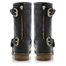 womens black leather biker boots steve madden energize sm gold buckle biker boots in black lyst