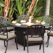 Patio Furniture Counter Height Table Sets - darlee elisabeth 7 piece cast aluminum patio fire pit dining set