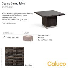 Polyethylene Patio Furniture by Mirabella Square Dining Table Caluco Patio Furniture
