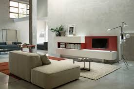 modern living room design with white leather sofa furnitur with
