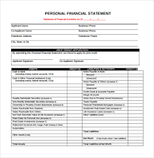 Personal Financial Statement Form       Free Samples  Examples  Format JFC CZ as