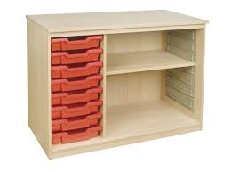 this useful classroomstorage unit in beech finish has 8 shallow