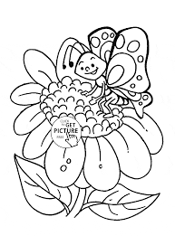 sunflower and cute butterfly coloring page for kids flower